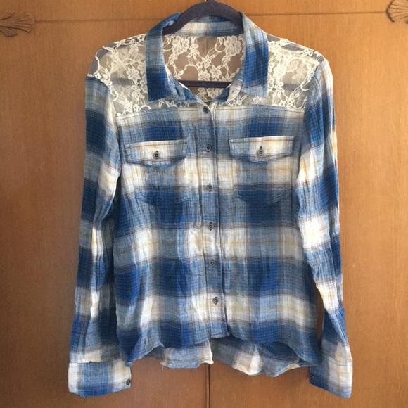 Mudd Tops - Mudd Plaid Lace Blue Tan Button Down Top shirt L